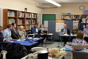 SD62 Board Trustees & Staff at Education Committee of the Whole at Millstream Elementary, January 10.