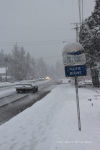 Highway clearing is top priority for road crews. Photo: Feb 6 on West Coast Road (Hwy14). Photo Copyright 2017 West Shore Voice News