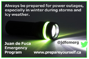 Juan de Fuca Emergency Program, emergency preparedness, power outage