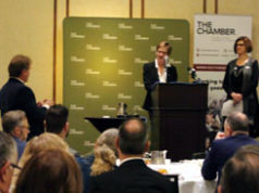 Claire Trevena, Mayor Stew Young, Victoria Chamber of Commerce