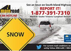 snowfall, road conditions, west shore, malahat, langford, mainroad south island