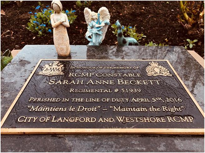 Cst Sarah Beckett, memorial plaque