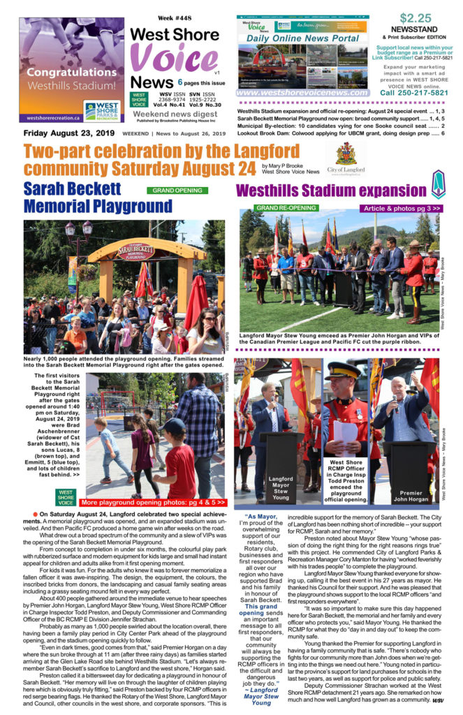 Sarah Beckett Memorial Playground, official opening, West Shore Voice News