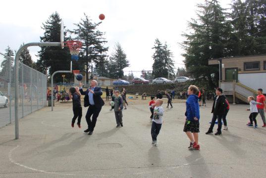 Premier John Horgan, basketball, Wishart Elementary, children