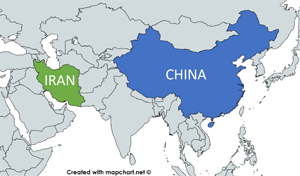 map, Iran and China