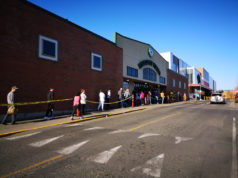 lineup, grocery store, COVID-19, social distancing