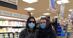 COVID-19, masks and gloves, grocery shopping
