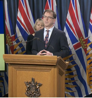 Health Minister Adrian Dix, Provincial Health Officer Dr Bonnie Henry, March 16, 2020