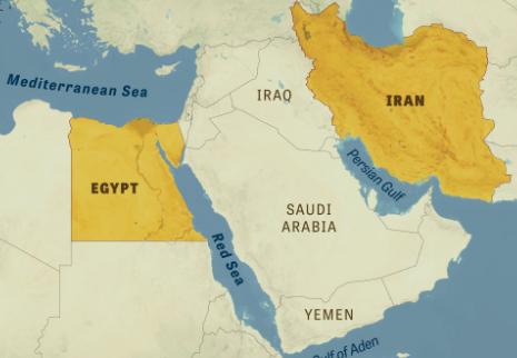 Iran, Egypt, map