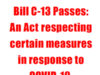 Bill C-13, An Act respecting certain measures in response to COVID-19.