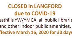 COVID-19, Langford, indoor gathering spaces