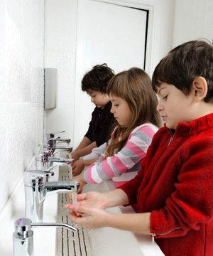 washing hands, children