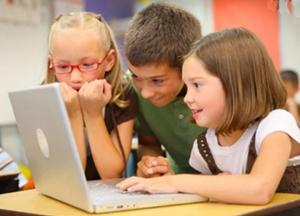 children, computer, video call