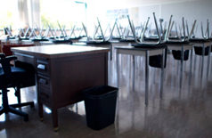 empty classroom, desk and chairs