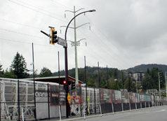 flag stands, Langford Parkway, June 2020