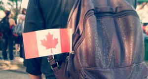 Canadian flag on a backpack.