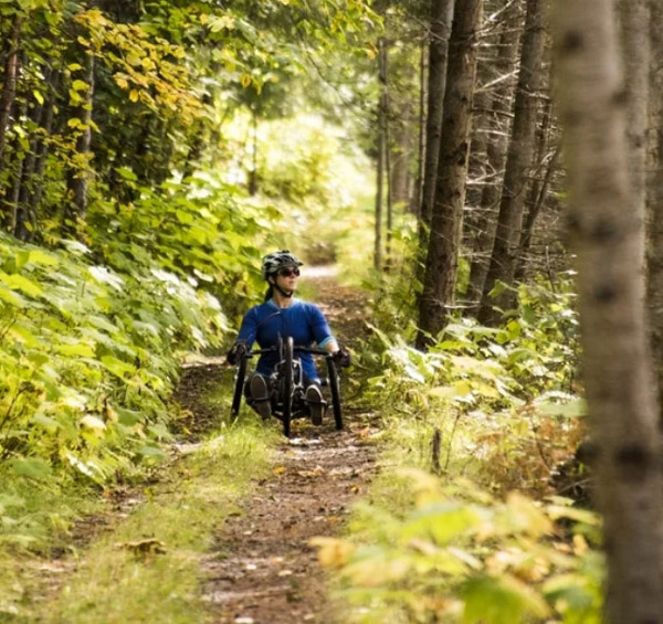 hand cyclist, accessible Galena Trail