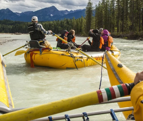 Rafting down Blaeberry River, BC interior