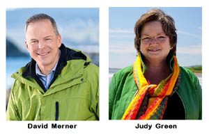 Green leadership candidates, David Merner, Judy Green