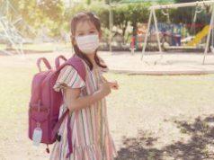 girl, mask, school, outdoors