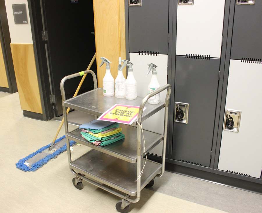 cleaning supplies, custodial, Belmont Secondary