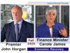Premier John Horgan, Finance Minister Carole James, September 17 2020