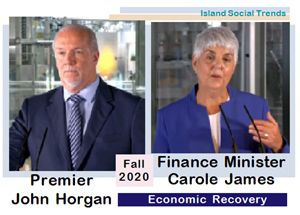 Premier John Horgan, Finance Minister Carole James, September 17 2020