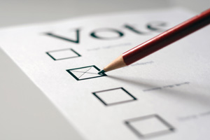 marking ballot, pencil