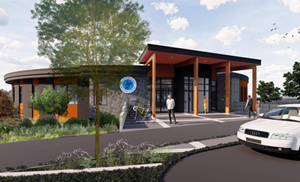 Sooke Library, external entry, rendering, May 2019