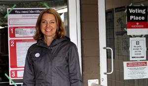 Mitzi Dean, BC NDP, voting place