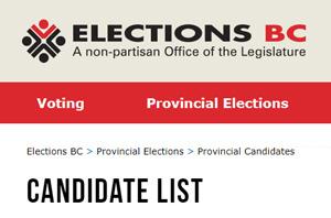 candidate list, BC election, wordmark