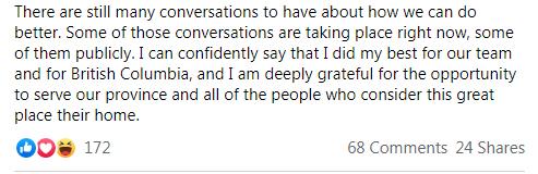 Andrew Wilkinson, Facebook, resignation, November 21 2020