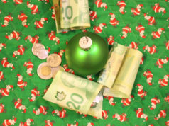 Christmas, dollar bills