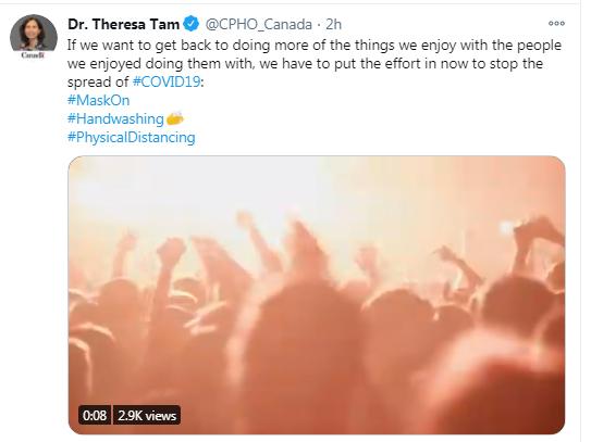 Dr Theresa Tam, Tweet, COVID