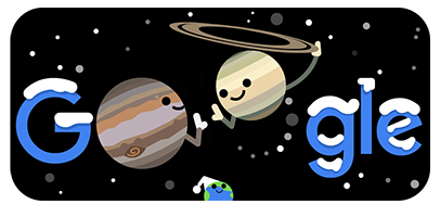 Saturn and Jupiter, winter solstice, Google header