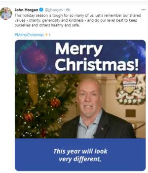 John Horgan, Christmas 2020, Twitter post