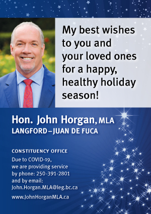 John Horgan, holiday greetings, 2020