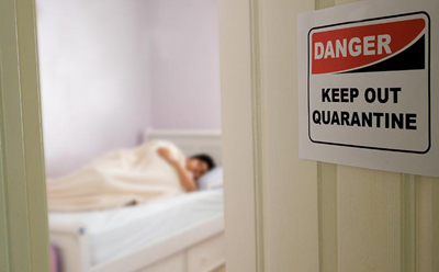 person in quarantine, COVID, sick