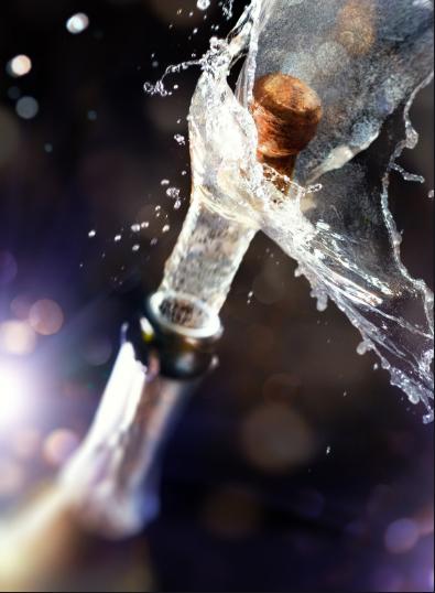 bottle, shaken, pop cork, new years