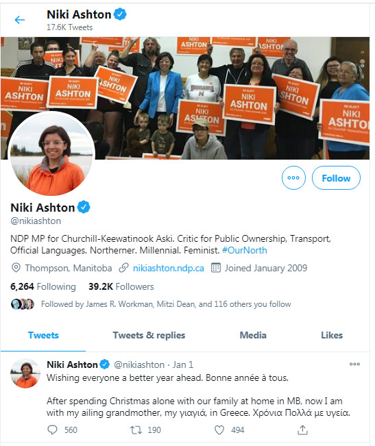 Niki Ashton, MP, NDP, Twitter, Greece