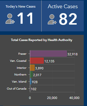 Vancouver Island, COVID, active cases, Dec 31