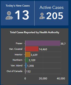 Island Health, COVID, active cases