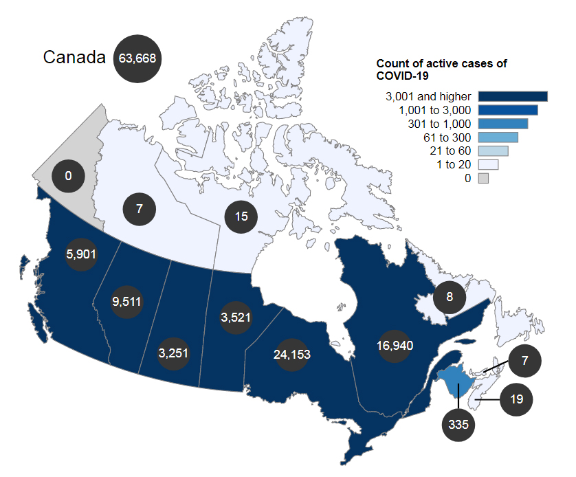 COVID, active cases, Canada, January 25 2021