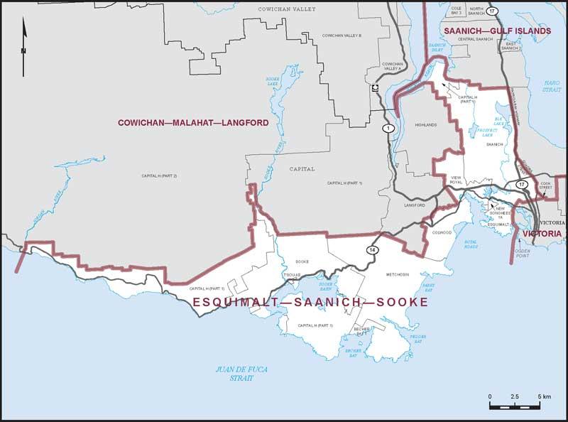Esquimalt-Saanich-Sooke, map