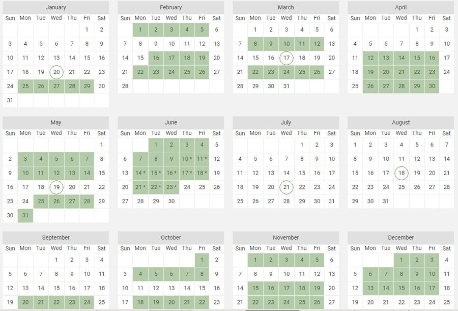 House of Commons, calendar, 2021
