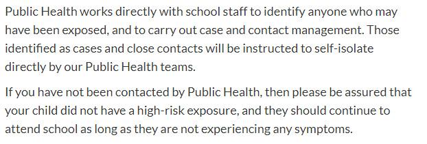Island Health, school exposures