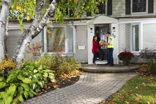 canada post, worker, door
