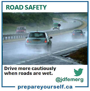 Slow down when roads are wet.